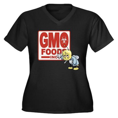 GMO Foods -Bee Women's Plus Size V-Neck Dark T-Shi