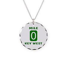Mile 0 Key West Florida Necklace Circle Charm
