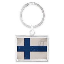 antiqued Finnish flag Keychains