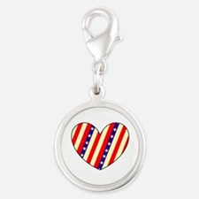 Red White Blue Memorial Day Heart Charms