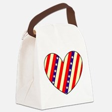 Red White Blue Stars Heart Valentines Day Canvas L