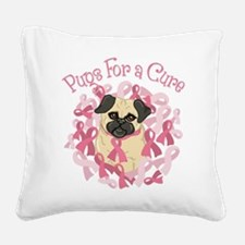 Pugs For A Cure Breast Cancer Pug Square Canvas Pi