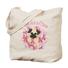 Pugs For A Cure Breast Cancer Pug Tote Bag