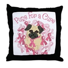 Pugs For A Cure Breast Cancer Pug Throw Pillow