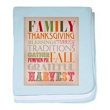 Happy Thanksgiving Subway Art baby blanket