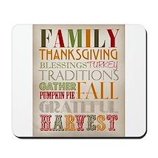 Happy Thanksgiving Subway Art Mousepad