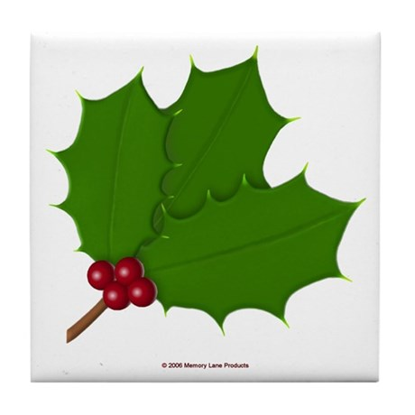Christmas Holly-days Tile Coaster
