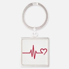 Frequency heart love Square Keychain