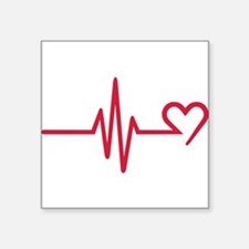 """Frequency heart love Square Sticker 3"""" x 3"""""""