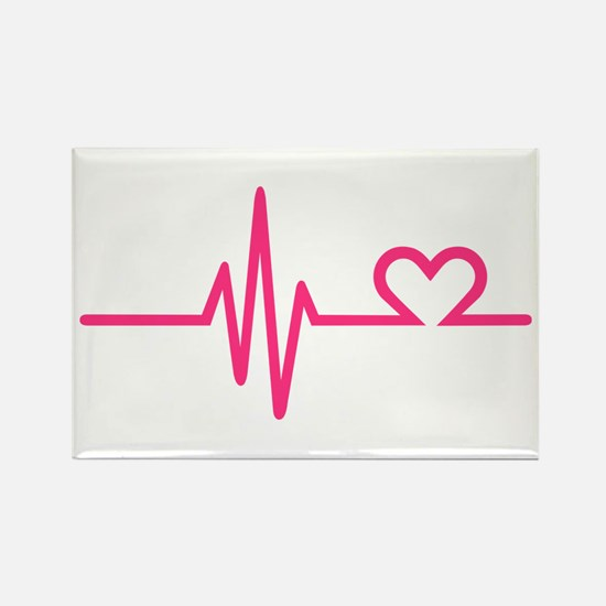 Frequency pink heart Rectangle Magnet