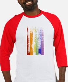 Worn Rainbow Stripes Baseball Jersey