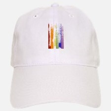 Worn Rainbow Stripes Baseball Baseball Cap
