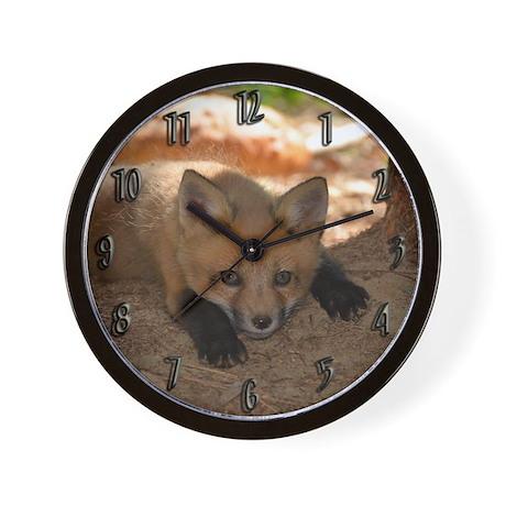 Red fox kit Wall Clock
