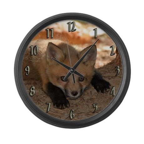 Red fox kit Large Wall Clock