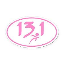 Pink 13.1 marathon Oval Car Magnet