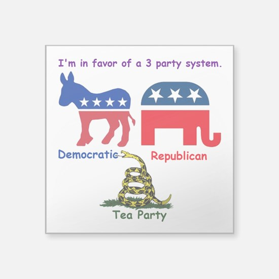 """3 Party System Square Sticker 3"""" x 3"""""""