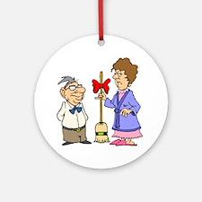 Husband Wife Broom Christmas Ornament (Round)