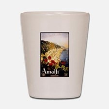 Antique Italy Amalfi Coast Travel Poster Shot Glas