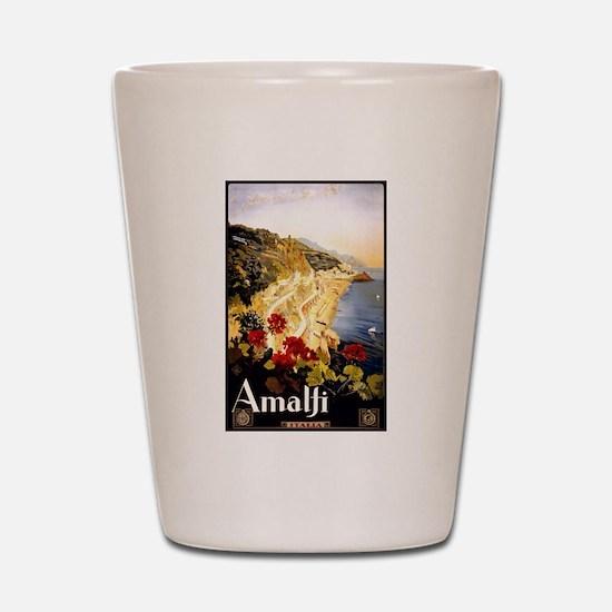Antique Italy Amalfi Coast Travel Poster Shot Glas