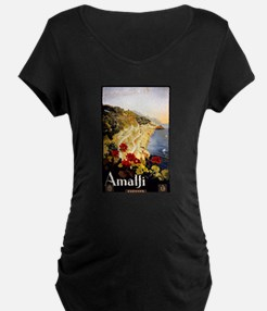 Antique Italy Amalfi Coast Travel Poster T-Shirt