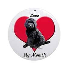 I Love My Mom!!! Black Goldendoodle Ornament (Roun