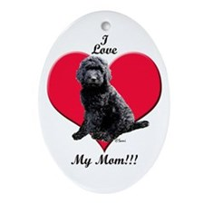 I Love My Mom!!! Black Goldendoodle Ornament (Oval