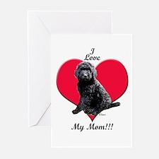 I Love My Mom!!! Black Goldendoodle Greeting Cards