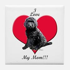 I Love My Mom!!! Black Goldendoodle Tile Coaster