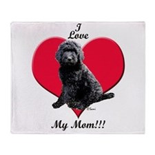 I Love My Mom!!! Black Goldendoodle Throw Blanket