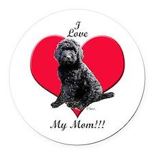 I Love My Mom!!! Black Goldendoodle Round Car Magn