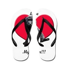 I Love My Mom!!! Black Goldendoodle Flip Flops