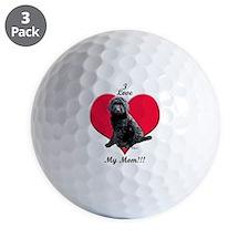 I Love My Mom!!! Black Goldendoodle Golf Ball