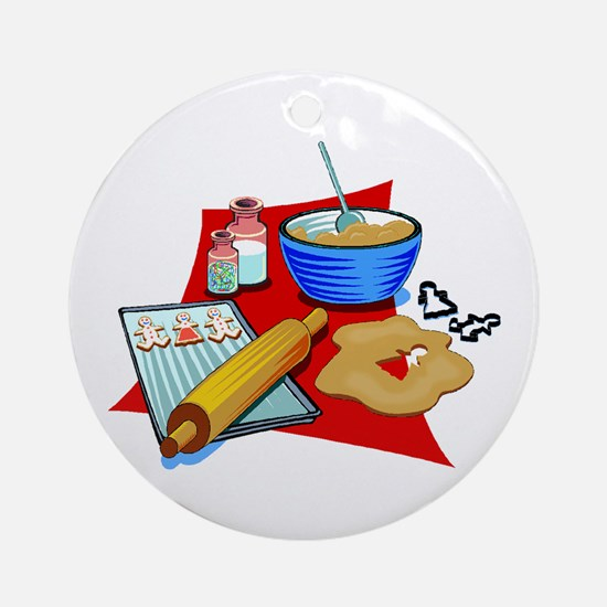 Baking Christmas Cookies Ornament (Round)