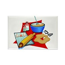 Baking Christmas Cookies Rectangle Magnet
