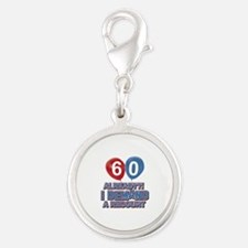 60 years birthday gifts Silver Round Charm
