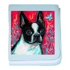 Portrait of smiling Boston Terrier baby blanket