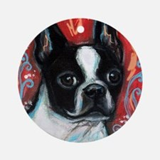 Portrait of smiling Boston Terrier Ornament (Round
