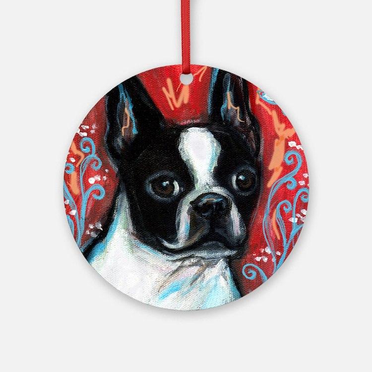 Portrait of smiling Boston Terrier Ornament (Round