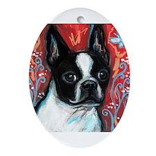 Portrait of smiling Boston Terrier Ornament (Oval)