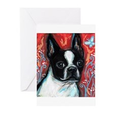 Portrait of smiling Boston Terrier Greeting Cards