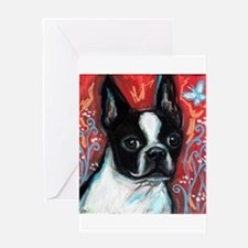 Portrait of smiling Boston Terrier Greeting Card