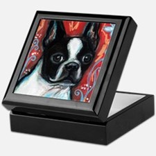 Portrait of smiling Boston Terrier Keepsake Box