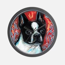 Portrait of smiling Boston Terrier Wall Clock