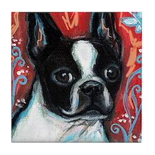 Portrait of smiling Boston Terrier Tile Coaster