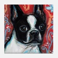 Portrait of smiling Boston Terrier Tile Coaster