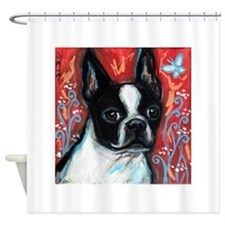 Portrait of smiling Boston Terrier Shower Curtain