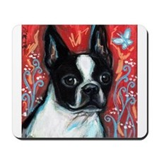 Portrait of smiling Boston Terrier Mousepad
