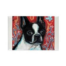 Portrait of smiling Boston Terrier Rectangle Magne