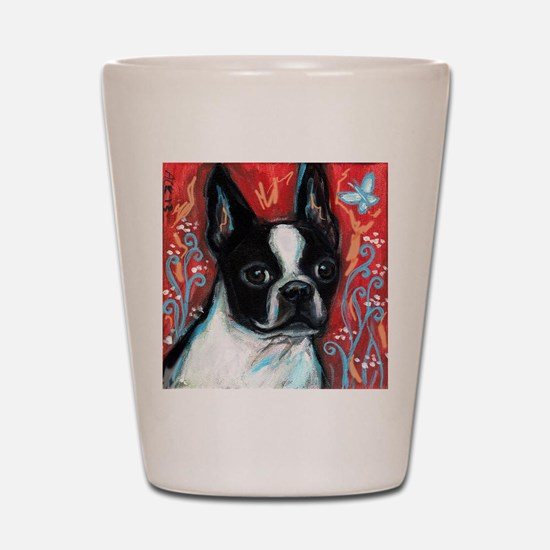 Portrait of smiling Boston Terrier Shot Glass