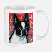 Portrait of smiling Boston Terrier Small Mugs